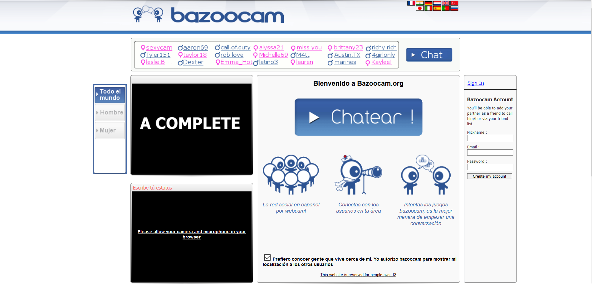 Bazoocam: ¡Un chat de video con juegos!