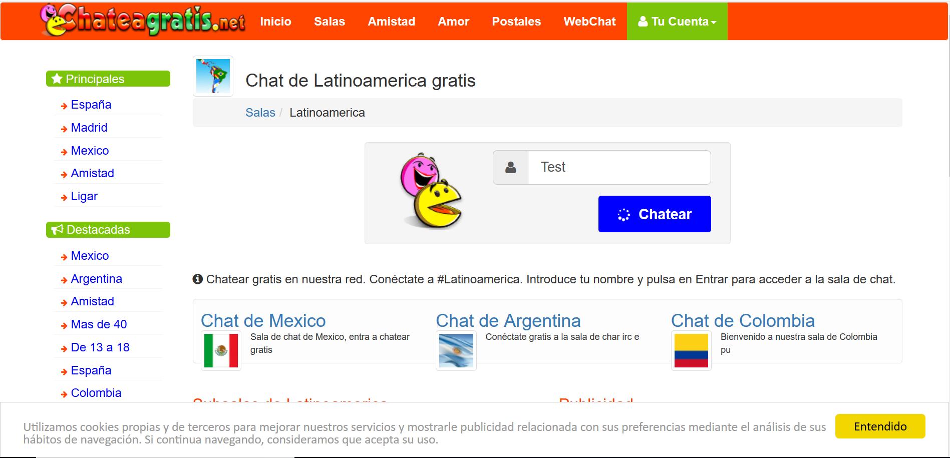 Chateagratis.net : chatea en salas regionales