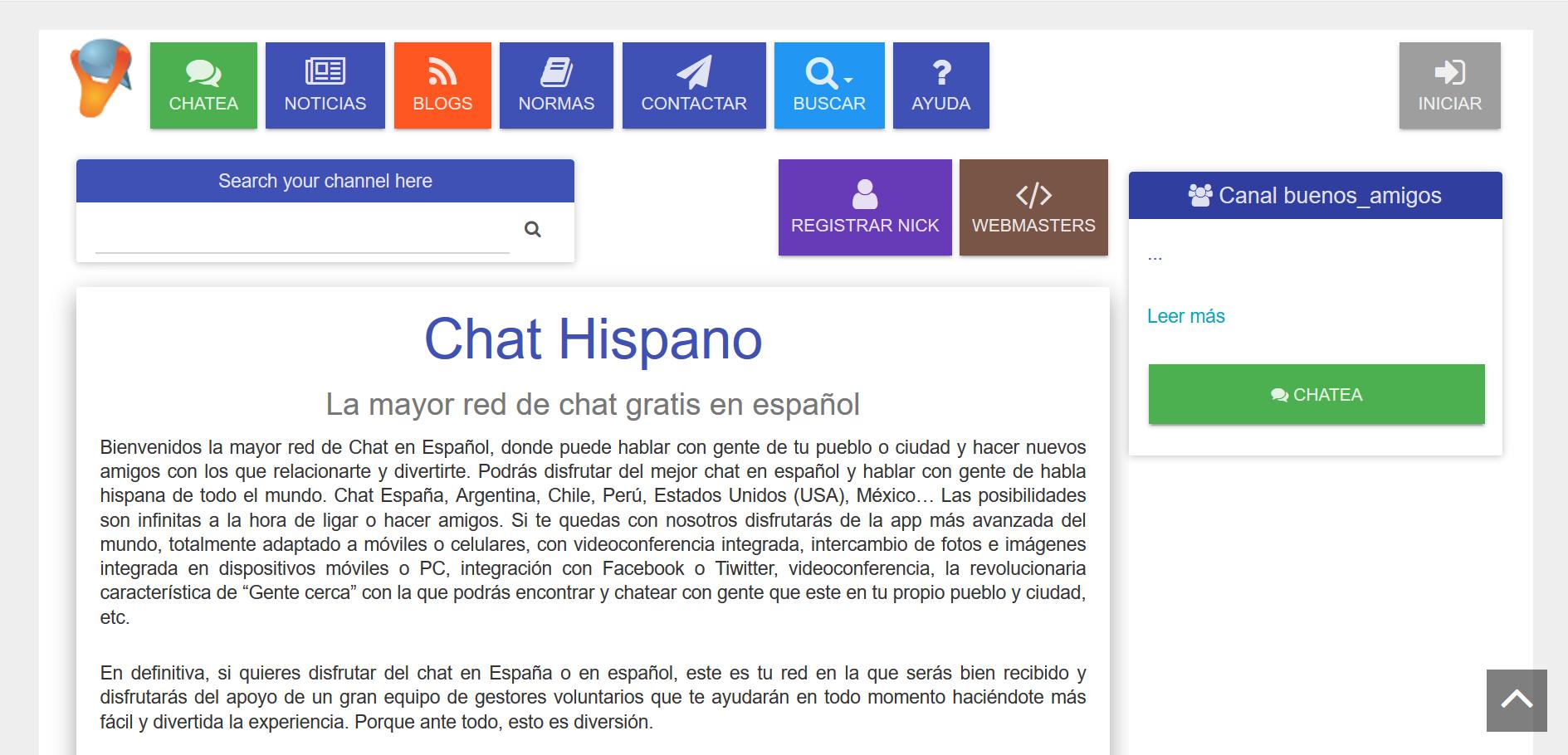 Chathispano: chat multimedia en español